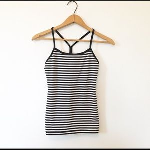 Lululemon Black and white striped Power Y Tank Top
